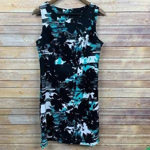 Connected Apparel Sheath Dress B/W&Aqua Sleeveless